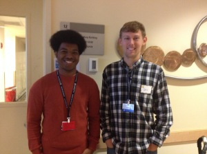 Christopher Gordon and Christopher Heller, young researchers from Beth Stevens' lab with an interest in microglial function in Rett syndrome